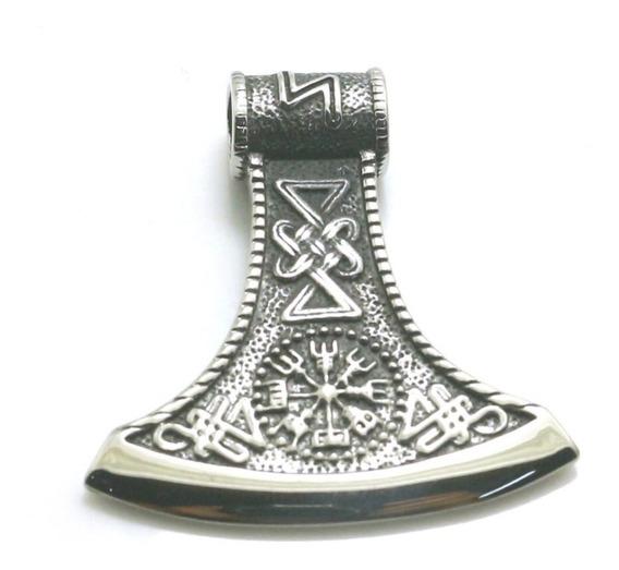 Colar Machado De Thor Runas Bussola Runica Amon Amarth