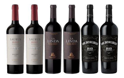 Imagen 1 de 6 de Combo Alta Gama Malbec La Linda + Saurus + Los Intocables