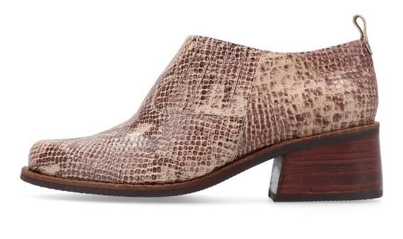 Zapato De Cuero Tipo Reptil Vison