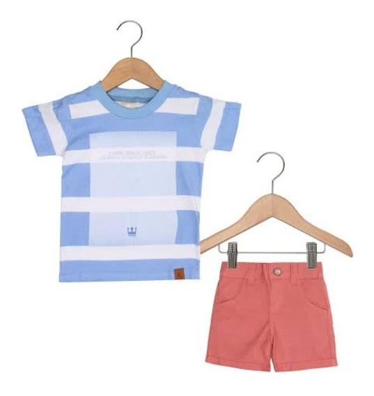 Conjunto Infantil C/ Bermuda De Sarja E Camiseta