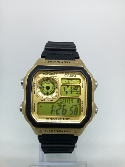 Relógio Digital Dourado E Preto Grande Barato Alarme