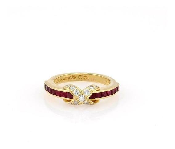 Anillo Tiffany & Co. 1.2 Kt De Diamante Y Rubí 18k Oro