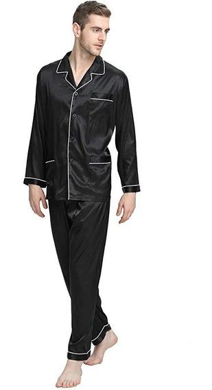Lonxu Pijama Para Hombre Tipo Seda Para Dormir Comoda V2