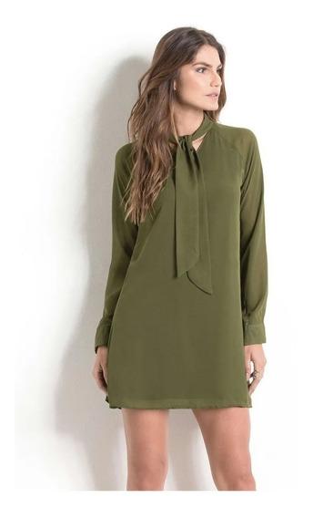 Vestido Chiffon Verde Com Amarração- Quintess (tamanho M)