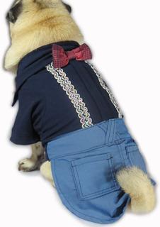 Roupa De Cachorro/ Gato Social Azul Fashion