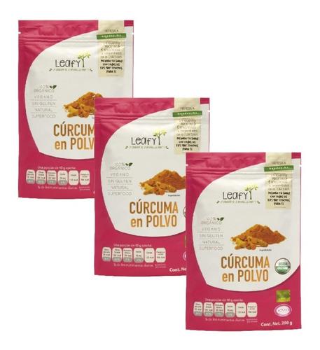 Imagen 1 de 7 de Cúrcuma En Polvo Superfood Leafy 200 Gr