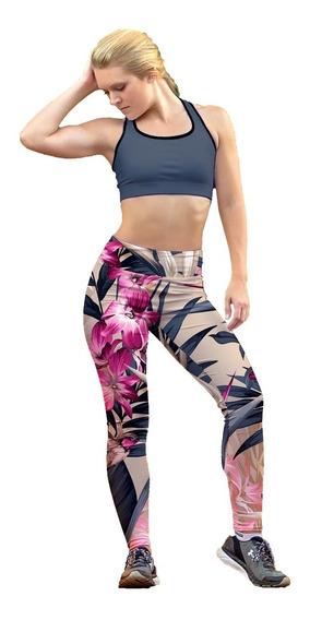 Leggin Dama Sublimado En Licra Flor Rosa Gym Bi-estrech
