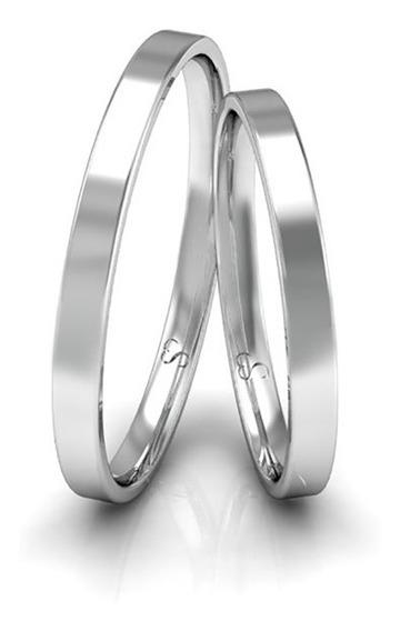 Alianças Namoro Prata Polidas 2mm 3g
