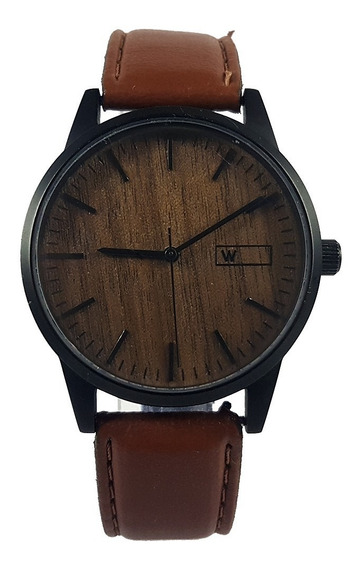 Relogio Social Unisex Woodz Fundo Madeira Original Unico