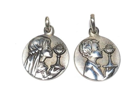 Imagen 1 de 6 de Medalla Primera Comunión Plata 925 14 Mm. Diámetro Nene Nena
