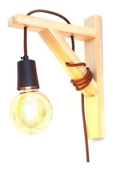 Luminária De Parede Arandela Mão Francesa Madeira E27