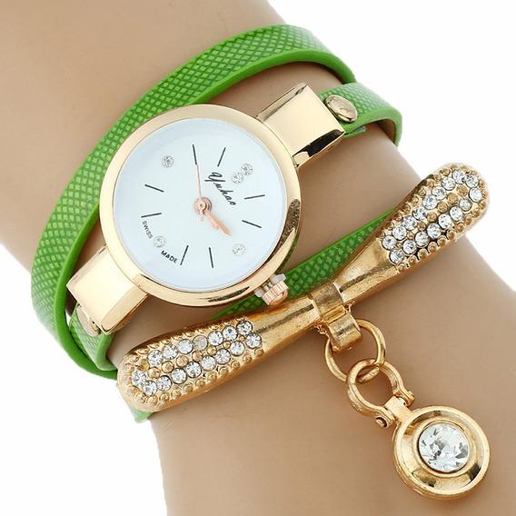 Reloj Pulsera Cristal Moda Dama Dorado Pielvinil Mujer A469