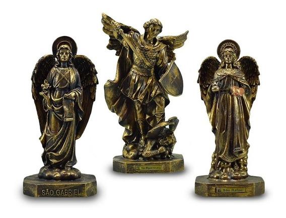 Os Três Arcanjos 34 Cm Ouro Velho 3 Un De Borracha