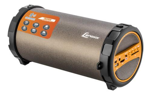 Caixa de som Lenoxx BT530 portátil com bluetooth preta e laranja 110V/220V