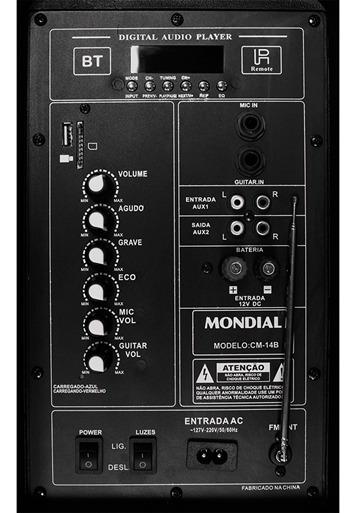 Caixa De Som Amplificada Mondial Connect Party Cm-14b