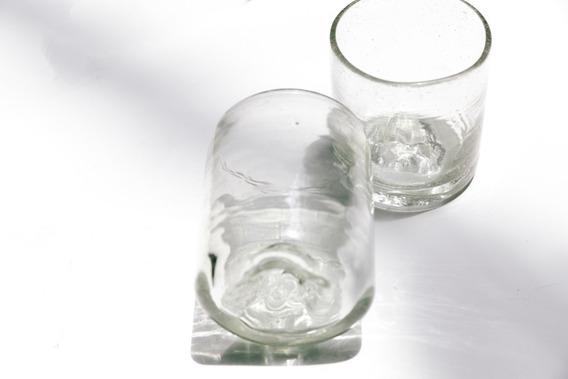 Vaso Roca Rns Vidrio Soplado Artesanal Transparente 250ml