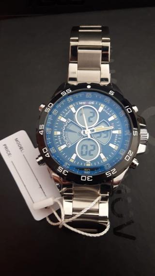 Relógio Inox Lindo Original Prata Digital Analógico Promoção