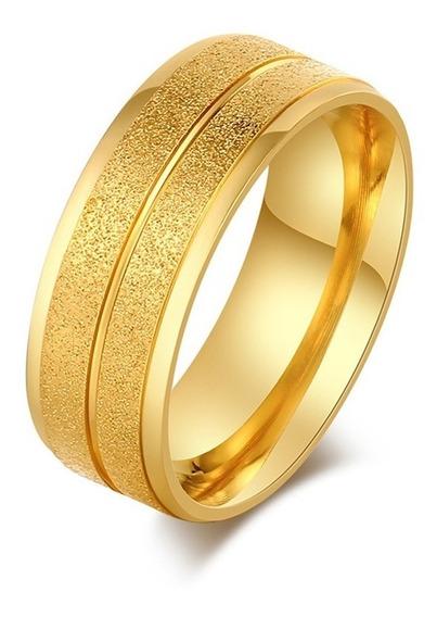 Par Aliança 8mm Aço Inox Jateado Ouro 18k Casamento Noivado