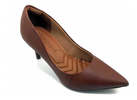 Sapato Scarpin Bebecê Napa Marrom Salto Médio7010-104