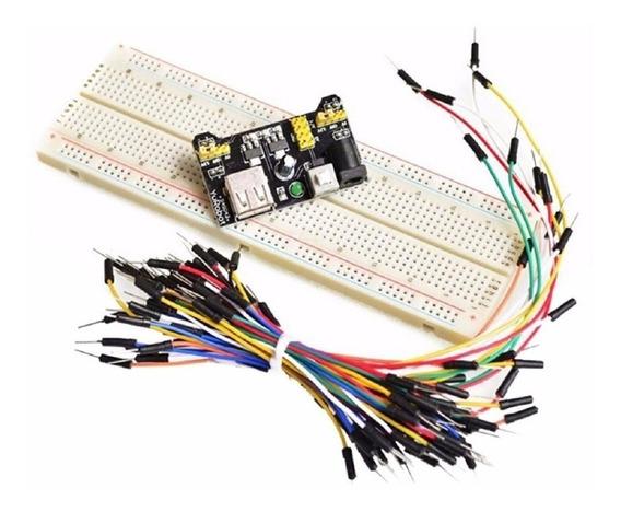 Kit Protoboard 830 + Regulador Tensão + 65 Jumpers C/ Nota