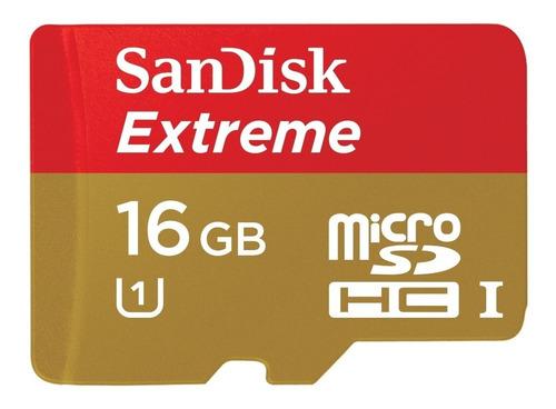 Imagem 1 de 3 de Cartão De Memória Microsd Sandisk Extreme 16gb 80mb/s C10