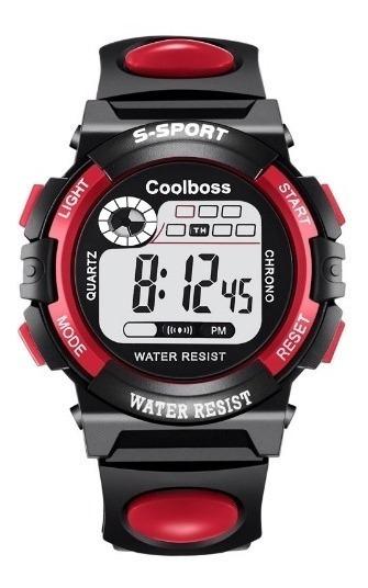 Relógio Pulso Digital Esportivo Criança Azul Vermelho Preto
