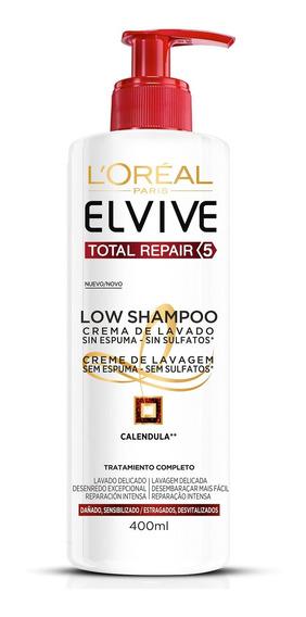 Shampoo Elvive Low Poo Reparación Total 5 X 400 Ml