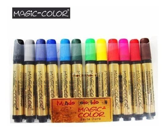 Caneta Magic Color Profissional Permanente 12 Cores Básicas