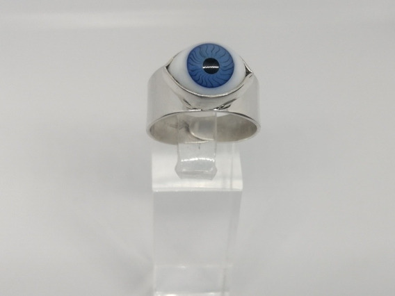 Anillo Ojo Turco Azul Plata Solida 925 Ley Liso Proteccion