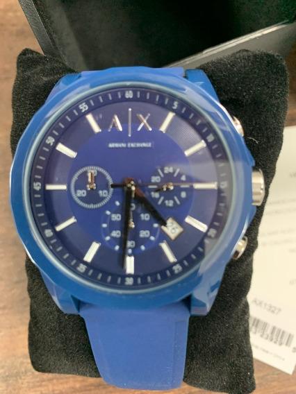 Relógio Armani Exchange Azul Silicone Analógico Novo