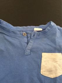 Camiseta Para Bebê Da Zara Baby 6 A 9 Mêses Cor Azul C/bolso