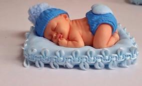 10 Lembrancinhas Bebe Em Biscuit Menino Azul Médio