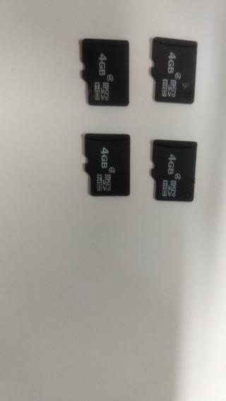 Lote Com 4 Cartões De Memória Micro Sd 4gb Funcionando