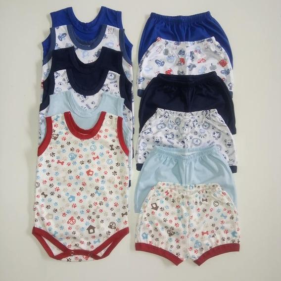 6 Body Regata + 6 Shorts / Menina + Menino / Kit 12 Peças /