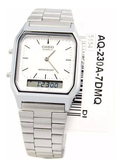 Relógio Casio Luxo Aq-230a-7dmq Prata Origina Super Promocao