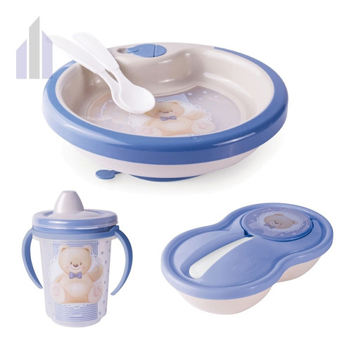 Imagem 1 de 5 de Kit Alimentação Bebê Prato Térmico Pote Papinha Copo Urso