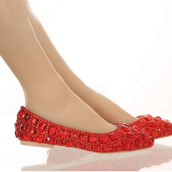 Sapatilha Noiva Debutante Vermelha Personalizada Cristal