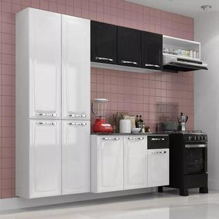 Conjunto Cozinha Itatiaia Amanda 4 Peças Branco E Preto