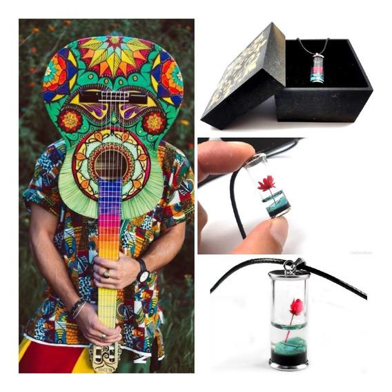 Colar Hippie,vidro,mini Flor,c/caixa, Artesanal,natural,d+