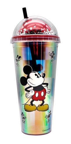 Copo Com Canudo Holográfico Disney Mickey Mouse Xadrez 750ml