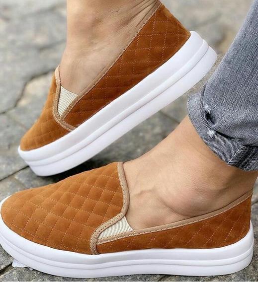 Tênis Iate Sapatenis Feminino Veludo Slip On Flat Form