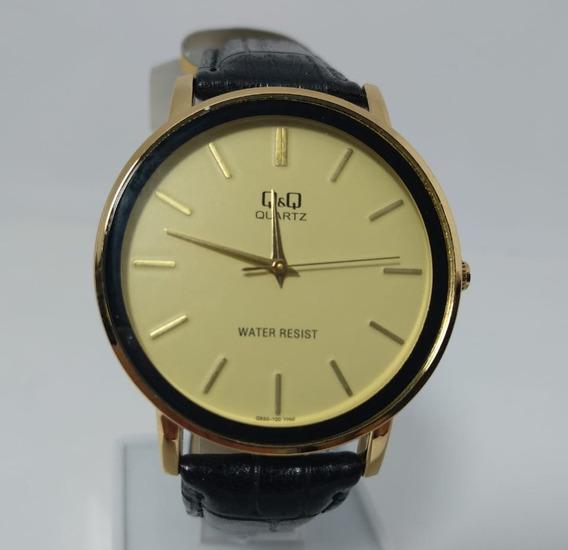 Relógio Q&q By Citizen Dourado Pulseira Em Couro Q850-100y