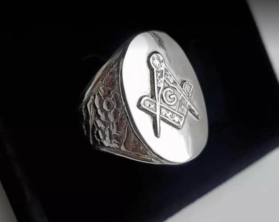 Anel Em Prata 950k De Lei Maçonaria Maçom Símbolo Da Ordem