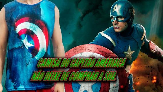 Camisa Regata Azul 3d Do Escudo Do Capitão América Marvel
