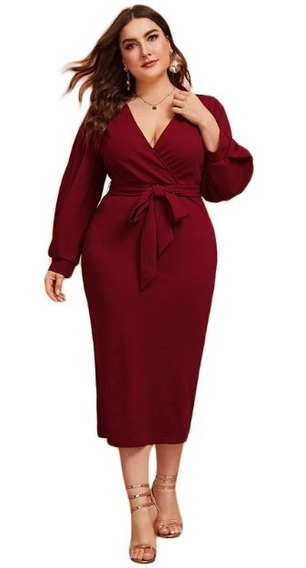 Vestido Dama Mujer Sexi Elegante C/cinturon Talla Extra Plus