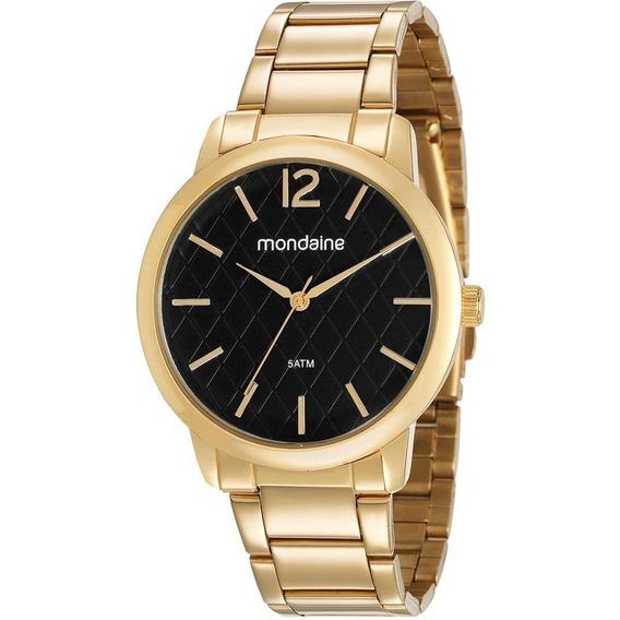 Relógio Mondaine Feminino Dourado Preto Barato 53607lpmvde2