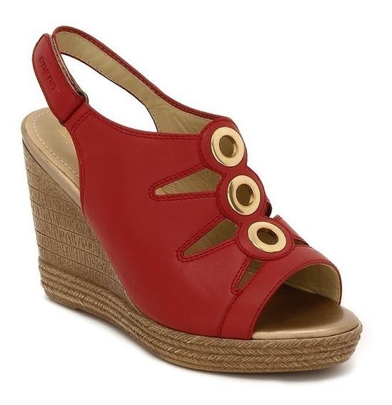 Sandalias Zapatos Onena 4977 Rojo Damas Argollas Ancho Doble