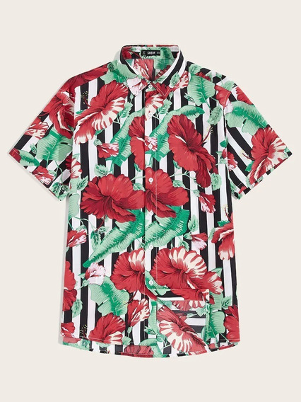 Camisa Estampado Floral Tropical Negra Hombre Playa