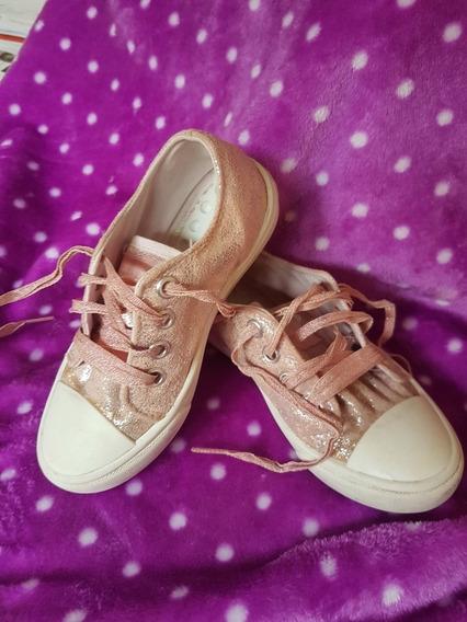 Zapatillas De Nena Rosa Brillo