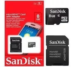 Cartão Micro Sandisk 8 Gb - Classe 4 + Adaptador Grátis !!!